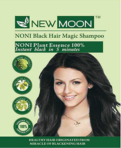 New Moon Noni Hair Dying Shampoo for Men & Women - Instant 5 Minutes Herbal Hair Color Shampoo – Ammonia Free Natural Black Hair Dye - 20 pcs of 15 ml