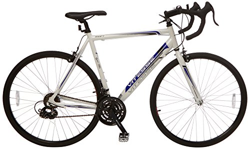 "Vitesse Swift Unisex Road Bike White, 21.8"" inch steel frame, 21 speed lightweight and aerodynamic frame front and rear dual pivot caliper"