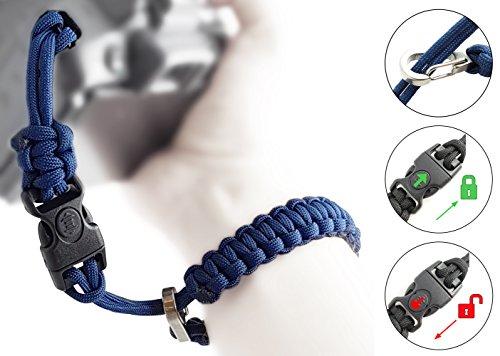 Preisvergleich Produktbild Paracord Kameraschlaufe / klick-Verschluss mit Sperre / BLAU / DSLR SLR Kompakt-Kamera Handschlaufe Trageschlaufe Handgelenkschlaufe Armband Schlaufe / MIND CARE ESSENTIALS