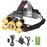 Neolight LED Head Torch Rechargeable, Super Bright 8000 Lumens 5 LEDs CREE Headlamp, Zoomable Waterproof Headlight for Outdoor Camping Running Walking Hiking Hunting Fishing Cycling Caving Mining