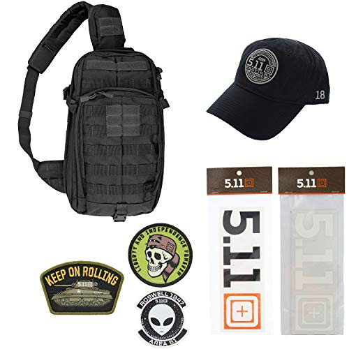 5.11 Kits Rush Moab 10 Military Sling Pack Backpack, Hat, Patches, and Decals Set - Army Sling Pack Tactical Gear - Black Symbol Stealth Hat