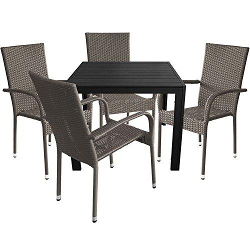 5tlg. Gartengarnitur Aluminium Gartentisch 90x90cm mit Polywood Tischplatte Polyrattan Stapelstuhl grau-meliert