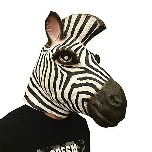 Halloween Horror Ghost Dance Requisiten Latex Zebra Maske Kopfbedeckung Aprilscherz Dress Up Party Requisiten (Color : Big zebra) (Diy Dinosaurier-kostüm Erwachsenen)
