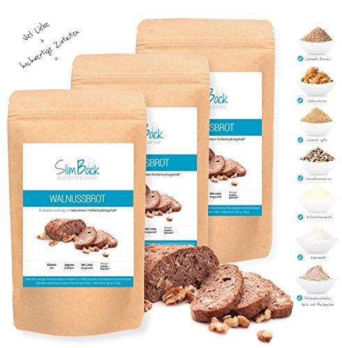 SlimBack - Lower Carb Walnussbrot - 3er Set (Ergibt ca. 1350g) - Brot Backmischung - Vegan | Weniger Kohlenhydrate* | Glutenfrei | Ballaststoffreich | Eiweißreich | Sojafrei | Ohne Getreide