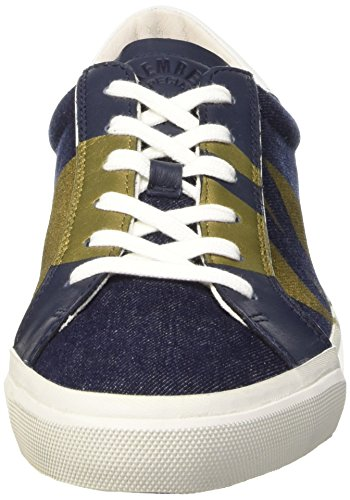 Bikkembergs Rubb-Er 669 L.Shoe M Denim/Leather, Pompes à Plateforme Plate Homme, Blu/Gold Bleu (Blue/White/Gold Band)