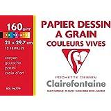 Clairefontaine 96779C Pochette de 12 Feuilles de papier dessin couleurs Etival Color A4 21 x 29,7 cm 160 g Assortiment vif