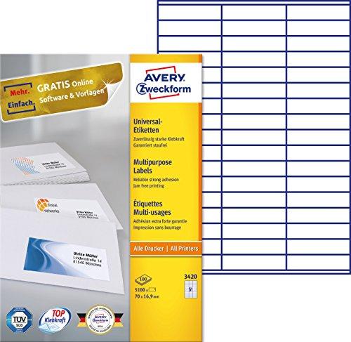 Avery Zweckform 3420 Universal-Etiketten (A4, Papier matt, 5,100 Klebeetiketten, 70 x 16,9 mm) 100 Blatt weiß