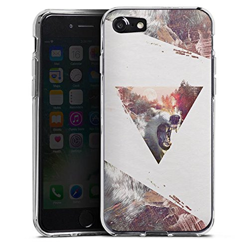 Apple iPhone X Silikon Hülle Case Schutzhülle Hipster Wolf Dreieck Silikon Case transparent