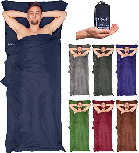 Großer Hüttenschlafsack + Tasche – in 7 Farben! Fit-Flip Mikrofaser Schlafsack Inlay mit extra Kissenfach. Leichter und seidig weicher Reiseschlafsack, Innenschlafsack Test