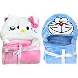 BRANDONN Newborn Hooded Wrapper or Blanket or Baby Bath Towel for Babies (WRAPPER_COMBO_PINK_WHT_BLUE_SMLY) - Pack of 2