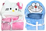 #9: BRANDONN Fashions for Newborn Hooded Wrapper Cum Blanket Cum Baby Bath Towel for Babies Pack of 2 (Pink White/Blue)