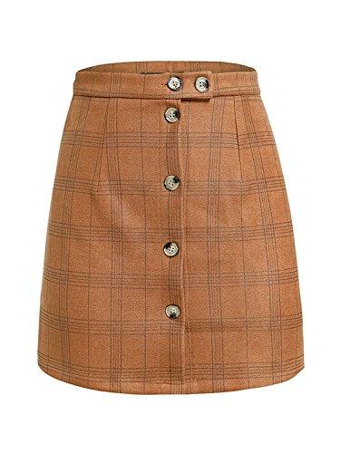 Melegant Damen Herbst Minirock Elegant Kurz Knöpfe Kariert High Waist Sommer Rock Skirt Streetwear Winter Braun