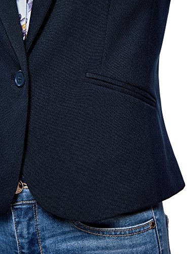 oodji Ultra Damen Taillierter Blazer Basic Blau (7900N)