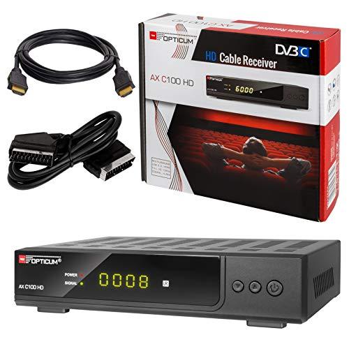 Digitale Ultra-kompakt-receiver (HB-DIGITAL Set: Opticum AX C100 HD Receiver für digitales Kabelfernsehen (HDMI, SCART, USB, SPDIF Koaxial, Mediaplayer) + HDMI Kabel mit Ethernet Funktion und vergoldeten Anschlüssen + SCART Kabel)
