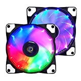 conisy PC Lüfter 120mm RGB LED Gehäuselüfter Ultra Leise Computer Fällen Fan - 2pack (Farbe)