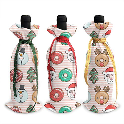 Wine Bags, Donuts Santa Tree Reindeer Stripes Champagne Wine Bottle Bags Covers for Wedding Party Holiday 3 Pieces Set