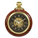 Treeweto in legno meccanico numeri romani orologio da tasca Open Face orologio da taschino per uomo donna
