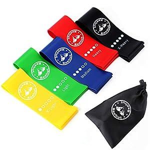 Reehut Fitnessbänder Widerstandsbänder Set mit 5 Stärken aus Naturlatex Unisex für Finess Training Gymnastik Yoga Plates