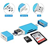 Philonext Speicherkartenleser, 3 IN 1 SD / Micro SD Kartenleser Lightning, USB and Micro USB Interfaces for Android Phones/Mac/PC/Notebook/iPhone/iPad und Micro USB OTG auf USB Adapter mit Standard USB Stecker Micro USB Stecker für PC und Notebooks Smartphones / Tablets mit OTG Funktion (Blue)