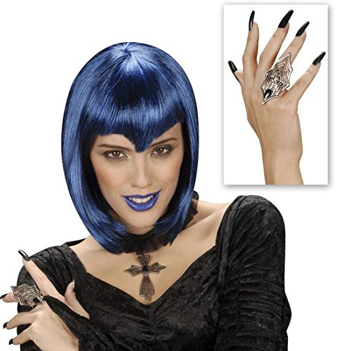 Spinnenweben Gothic Ring Hexenring silber Hexen Ring Vampirring Halloween Schmuck Vampir Kostüm Accessoire