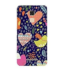 FUSON heartful bird design blue Designer Back Case Cover for Asus Zenfone Max ZC550KL :: Asus Zenfone Max ZC550KL 2016 :: Asus Zenfone Max ZC550KL 6A076IN