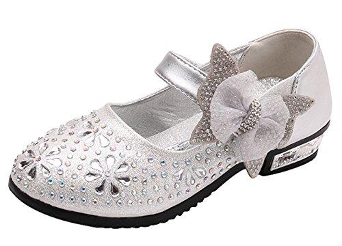 Y-BOA Chaussures Sandales Princesse Ballerine Uniforme Scolaire enfant Fille Pailleté Fleur Nœud Papillon