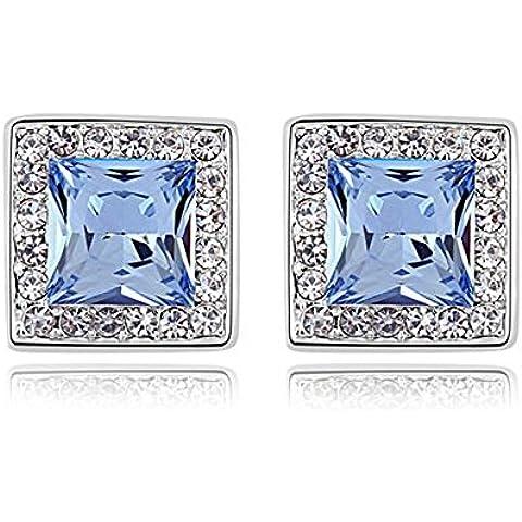 TEJ Swarovski Elements-Orecchini con zaffiro, placcati oro bianco, 18 k, idea regalo per donne e ragazze, In confezione regalo