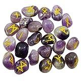 HARMONIZE Caído Piedra Amethyst con el Alfabeto de la Runa de la meditación de Equilibrio Símbolo de Reiki curación de Cristal