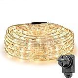 LE Tira de luces 10m 240 LED, Resistente al agua IP44, Blanco cálido (Luz fija), Cadena de luces, Jardín, terraza, patio, Manguera de luces de Navidad