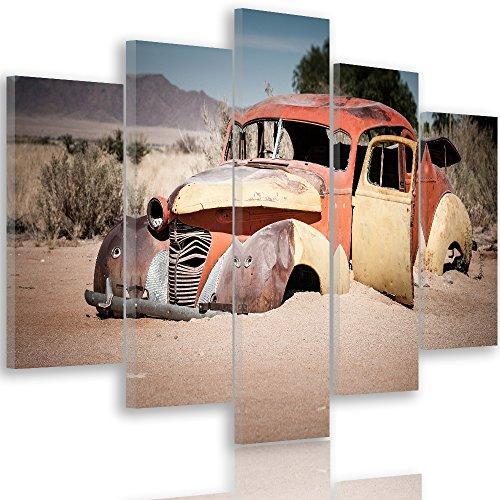 Feeby. Leinwandbild - 5 Teile - Bilder, Wand Bild, Wandbilder, Kunstdruck XXL, 5-Teilig, Typ A, 200x100 cm, AUTO, WRACK, AUTOMOBIL, NAMIBIA, BRAUN