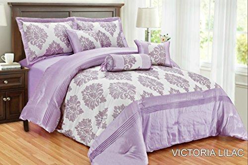 New Victoria Luxus weichem Jacquard 7-teilig Tagesdecke Tröster Quilt Polyester gefüllt Polyester gefüllt Neckroll Kissen Frühstück quadratisch Kissen Farbe flieder Größe King