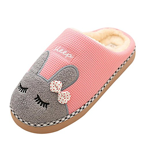 Herren Damen Winter Warm Hausschuhe Pantoffeln-TAIYCYXGAN Herren Damen Cartoon Kuschelige Slippers Winter Plüsch Hausschuhe Anti-Rutsch Indoor Schuhe Rosa 36/37