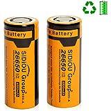 Sidiou Group 26650 de iones de litio de 3,7 V protegido 4800mAh batería recargable para la antorcha linterna LED (un conjunto de 2 piezas)