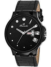 Buccachi Analouge Black Dial Watches Water Resistant Black Color Leather Strap Watches For Mens/Boys B-G5035-BK-BK