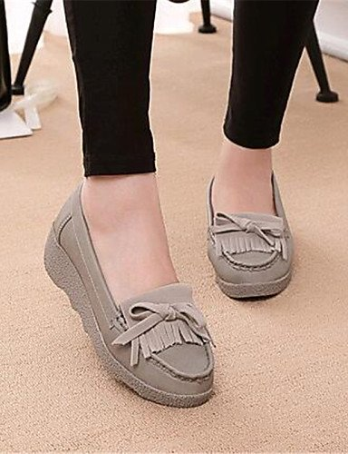 ZQ gyht Scarpe Donna-Mocassini-Tempo libero / Casual-Comoda-Piatto-Finta pelle-Bianco / Grigio , gray-us8 / eu39 / uk6 / cn39 , gray-us8 / eu39 / uk6 / cn39 gray-us6 / eu36 / uk4 / cn36