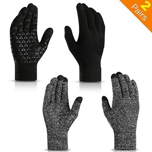 Winterhandschuhe für Männer und Frauen - gestrickter Touchscreen Anti-Rutsch-Silikon-Gel warme Handschuhe - elastische Manschette - Thermo-Innenfutter aus weicher Wolle Stretchmaterial Unisex (2 Paar)