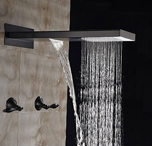 Gowe quadratisch Öl eingerieben Bronze Wasserfall Regen Dusche Kopf Dual Griffe Ventil Einhebelmischer (Dual Dusche Regen Kopf)