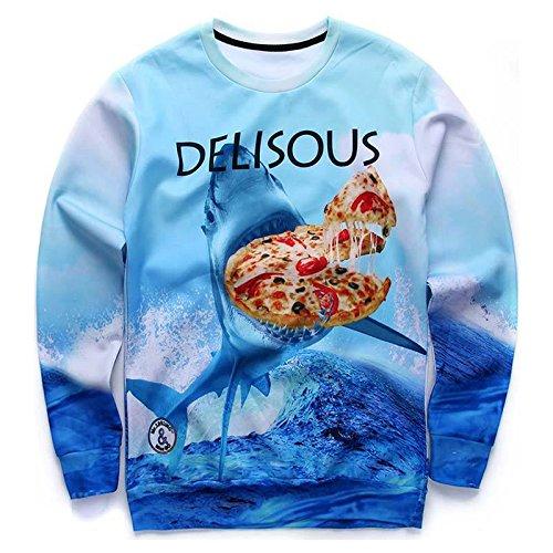 Kleid Shark (Neue hoodies Männer/Frauen Tops Kleider lustig Drucken das Meer shark Essen delisous Pizza 3D-Druck Sweatshirts, G19,)