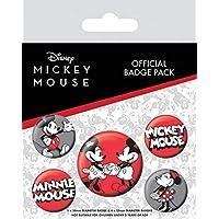 Mickey Mouse - 1 X 38mm & 4 X 25mm Badges Set De Chapas (15 x 10cm)