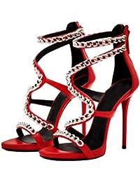 De Las Mujeres Finas Con Sandalias De Tacón Alto Punta Abierta Con Cadena Envuelta Root Fashion Party Heels (Altura...