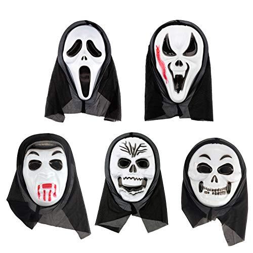 AHUA Halloween-Maske gruselig Zombie Erwachsenen Geister Festival Cosplay Kostüm Party Supplies, Halloween Requisiten Vollgesicht Latex Totenkopf Geist Gruselige Schrei Maske Gesichtshaube, 5 Styles