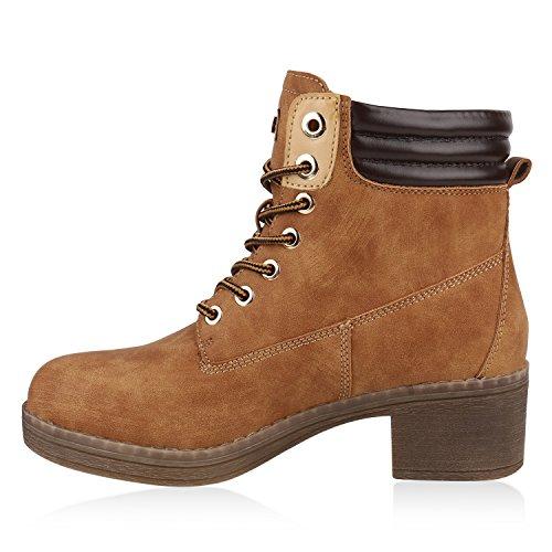 Damen Leicht Gefütterte Outdoor Schnürstiefeletten Worker Boots Hellbraun