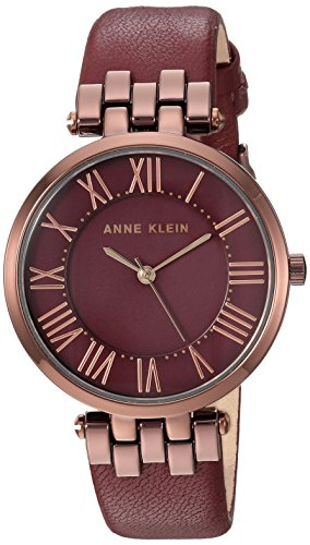 Anne Klein Women's AK/2619BYBN Brown and Burgundy Leather Strap Watch
