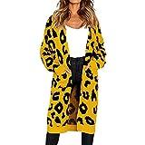 CUTUDE Cardigan Damen, Gestrickt Leopard Drucken Mantel Herbst Winter Jacke Coat Jacken (Gelb, M)
