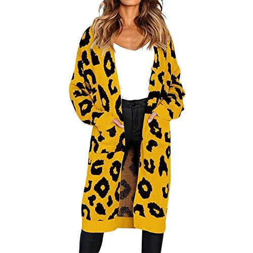 CUTUDE Cardigan Damen, Gestrickt Leopard Drucken Mantel Herbst Winter Jacke Coat Jacken (Gelb, XL)