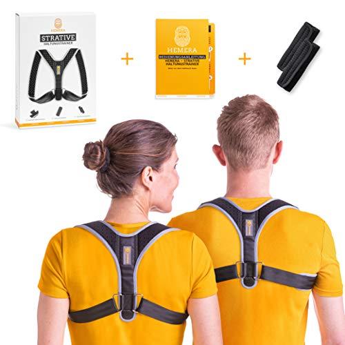 HEMERA Geradehalter zur Haltungskorrektur Rücken Damen und Herren inkl. Anleitung (+ Achselpolster) | Wirkungsvollster Haltungstrainer & angenehm zu tragen