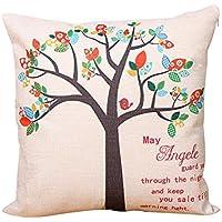 bigboba lino fundas de cojín árbol de vida patrón de lino cojín caso sofá cama decoración del hogar Planta flores funda de almohada 45* 45cm 18