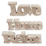 3er Set Schriftzug aus Holz Love Home Relax - Natur braun gewischt - Aufsteller Buchstaben Bild Dekoration Deko