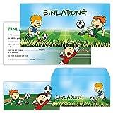 PAPERHELDEN 12 Fussball Einladungskarten mit 12 Umschlägen zum Kindergeburtstag | Geburtstags-Einladungen zur Fußball Party für Jungen & Mädchen
