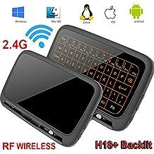 Mini teclado, retroiluminación Wirele Mouse Touchpad y Combo, Super-VIP H18 Panel completo Superficie táctil grande Múltiples gestos de dedos 2.4G Wifi Mini Touchpad para Android TV Box, PC con Windows, HTPC, IPTV, Raspberry Pi (H18 BACKLIGHT)